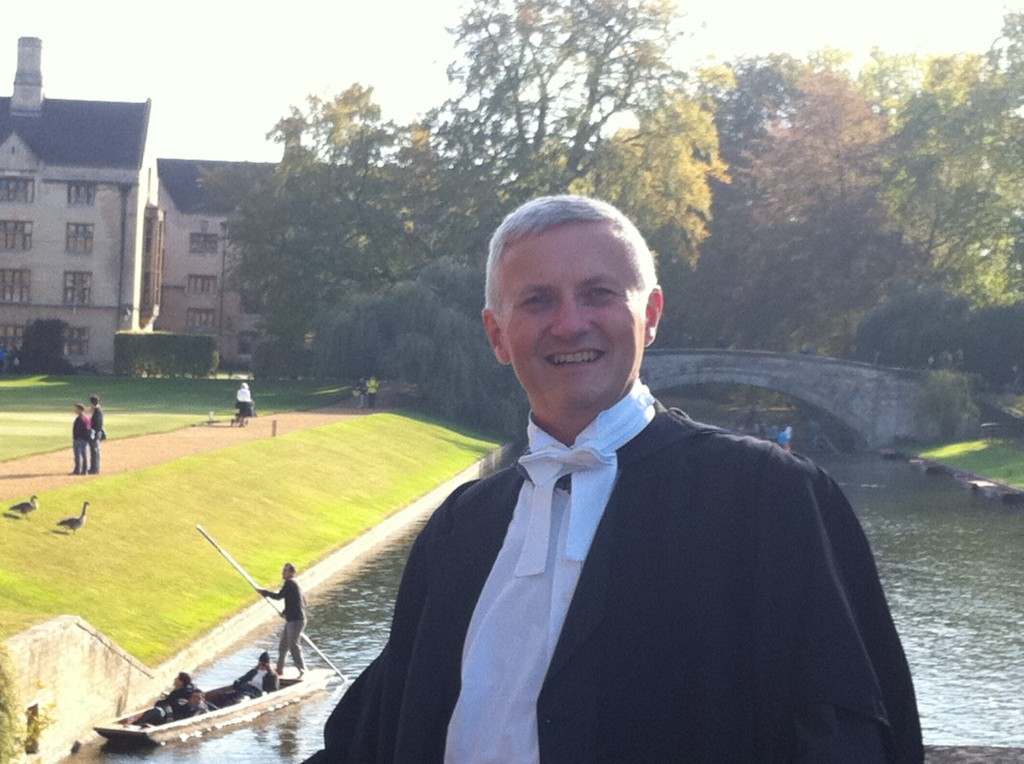 In academic dress on Clare Bridge